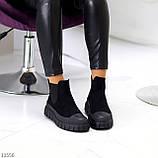 Жіночі черевики ДЕМІ чорні з гумкою еко замш весна/ осінь, фото 5