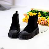 Жіночі черевики ДЕМІ чорні з гумкою еко замш весна/ осінь, фото 6