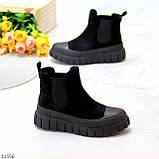 Жіночі черевики ДЕМІ чорні з гумкою еко замш весна/ осінь, фото 7