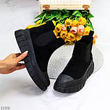 Жіночі черевики ДЕМІ чорні з гумкою еко замш весна/ осінь, фото 8