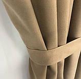 Комплект штор на тасьмі з тюлем Штори мікровелюр + тюль шифон 400х270 Штори з підхватами Колір Золотисті, фото 4