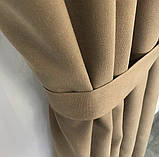 Комплект штор на тасьмі з тюлем Штори мікровелюр + тюль шифон 400х270 Штори з підхватами Колір Золотисті, фото 5