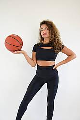 Женская фитнес одежда из бифлекса Lux-Form футболка с декольте