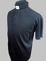 Поло для  священников черного цвета с коротким рукавом, фото 1