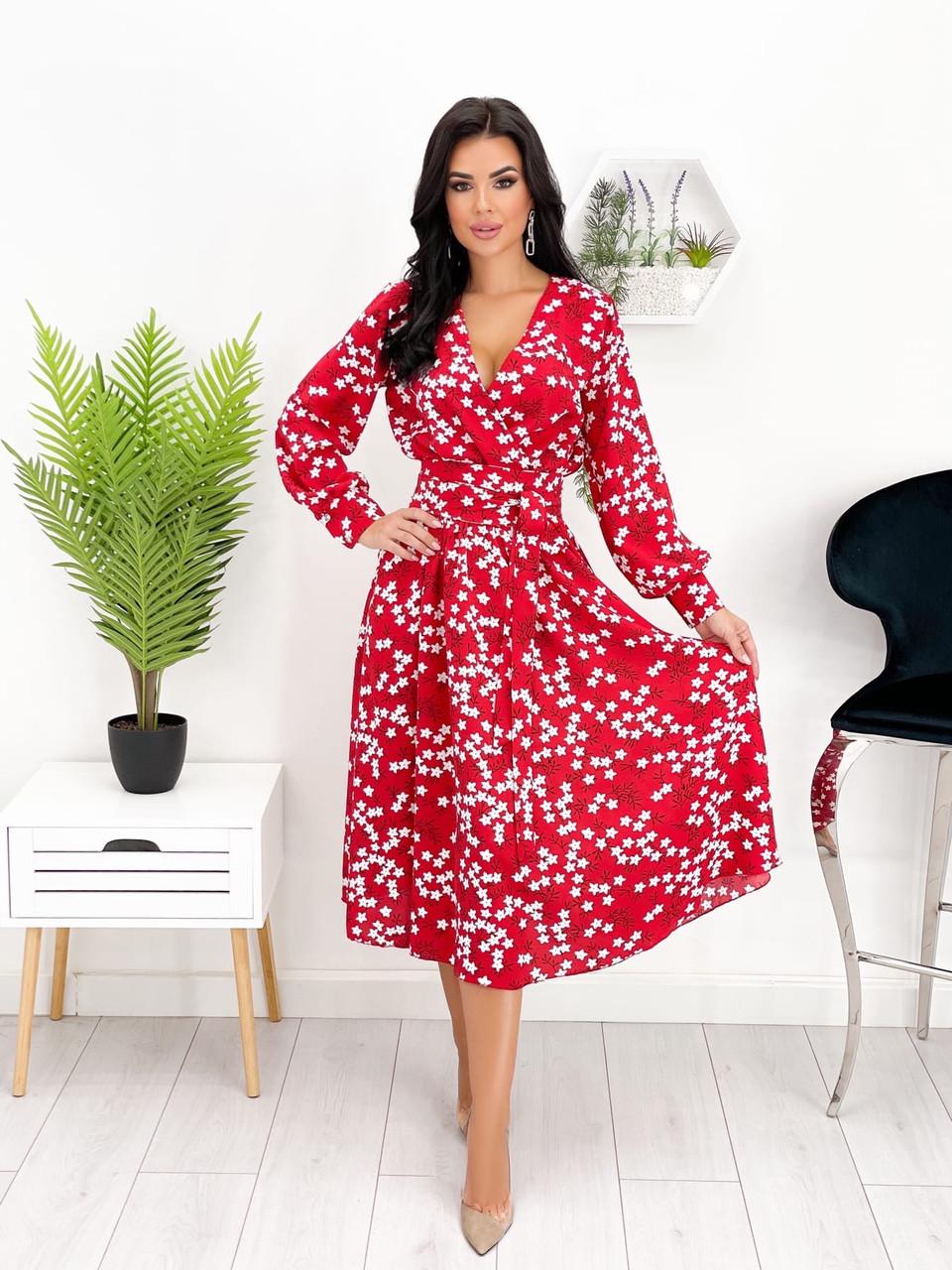 Женское платье длиною миди с имитацией запаха, цветочный принт