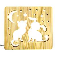 """Светильник ночник ArtEco Light из дерева LED """"Кот и собачка"""" с пультом и регулировкой цвета, RGB"""