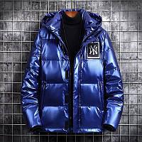 Чоловіча зимова лакована непромокаємий куртка пуховик , синій. РОЗМІР 44-52, фото 1