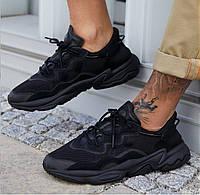 Мужские кроссовки Adidas OZWEEGO черные / стильные кроссы Адидас Озвего (Топ реплика ААА+)