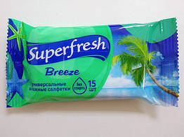 Вологі серветки SuperFresh Breeze не містять спирт 15 шт