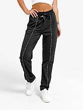 Жіночі чорні повсякденні спортивні штани високої посадки виконані з трикотажної двухніті з кишенями