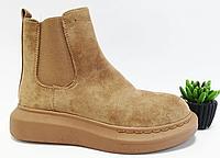 Жіночі черевики бежевого кольору на плоскій підошві, фото 1