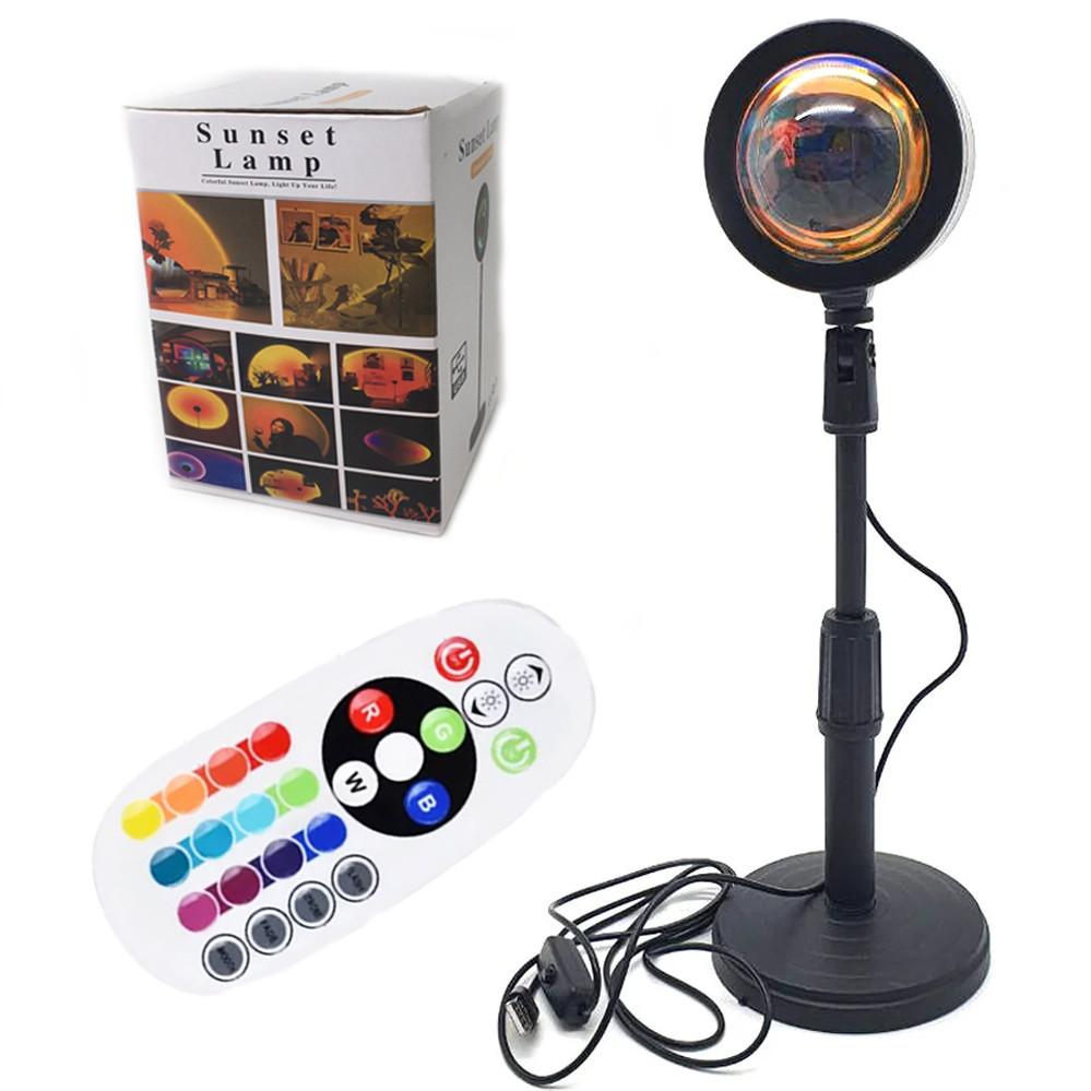 Проекционный светильник RGB на штативе USB проектор атмосферная лампа разноцветная Sunset Lamp с пультом РГБ