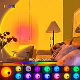 Проекционный светильник RGB на штативе USB проектор атмосферная лампа разноцветная Sunset Lamp с пультом РГБ, фото 7