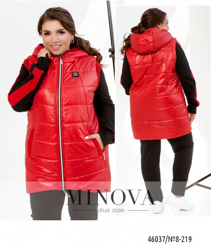 Женская жилетка с капюшоном цвет красный батал Размеры: 50-52, 54-56, 58-60, 62-64