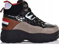 Жіночі черевики на товстій підошві зі шнурівкою, фото 1
