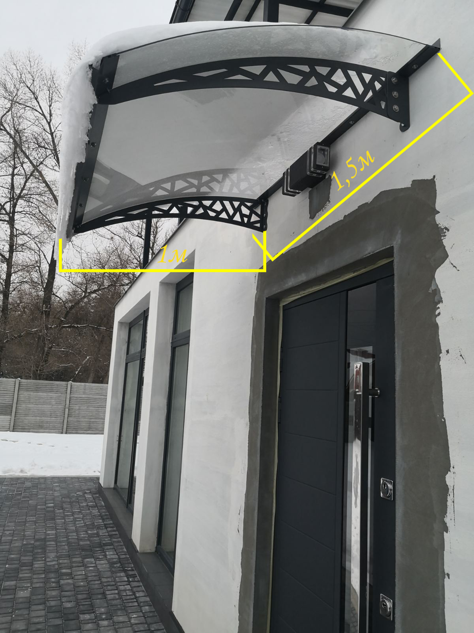 Готовий збірний дашок 1,5х1 м Хайтек з монолітним полікарбонатом 4 мм