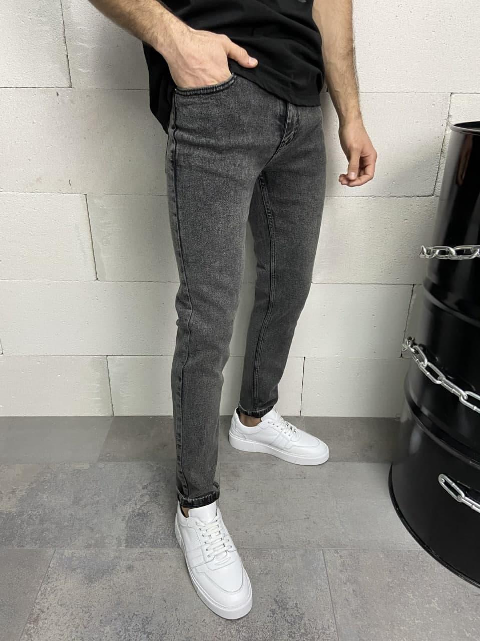 Джинси - Чоловічі сеерые джинси / чоловічі трендові джинси сірі класичні прямі