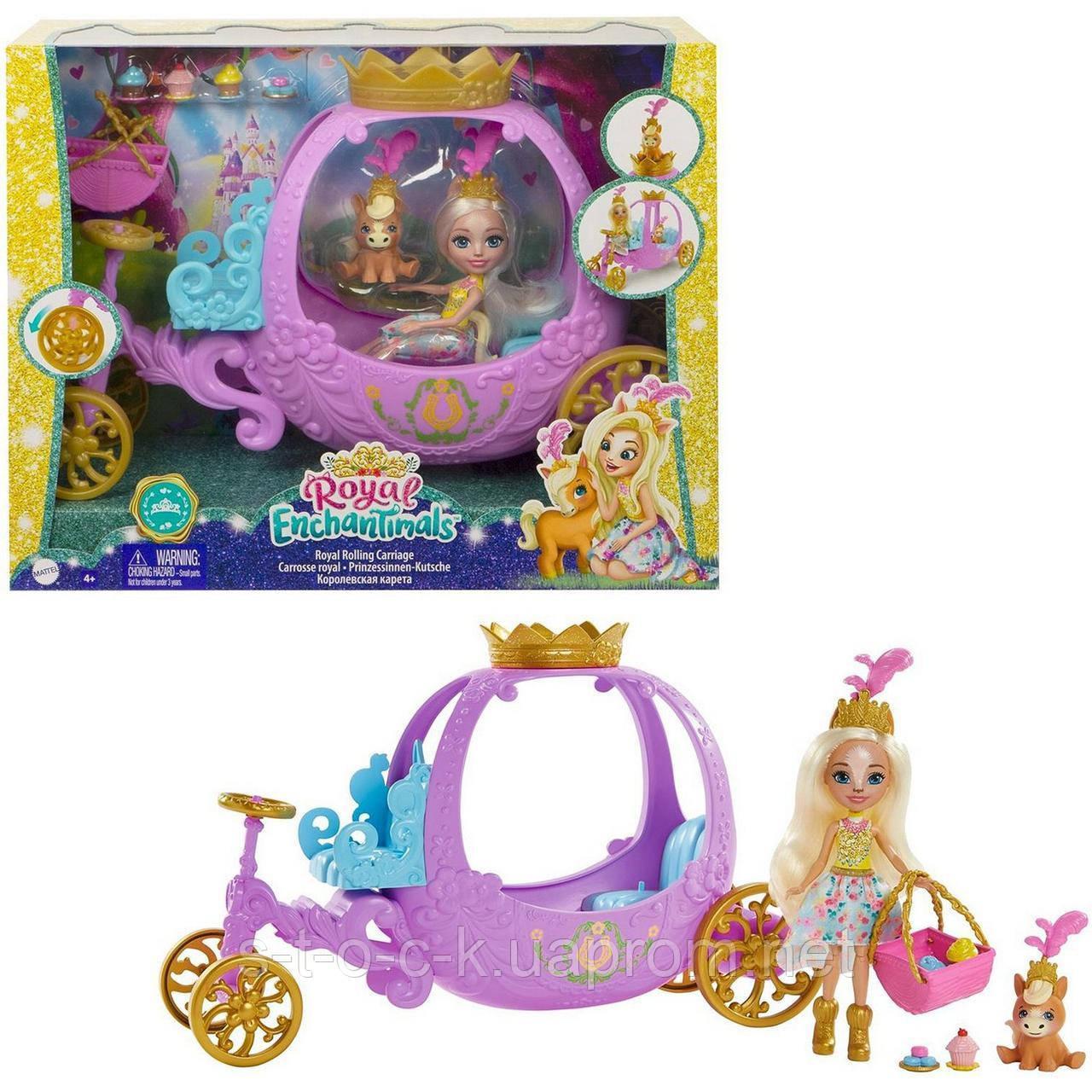 Игровой набор Энчантималс Королевская карета c куклой Пеола Пони GYJ16 Mattel