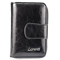 Жіночий шкіряний гаманець маленький чорний Lorenti 76115-BPR black