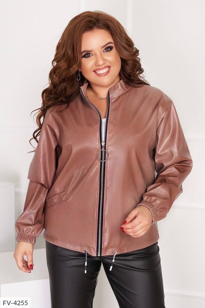 Жіноча шкіряна куртка (Батал)