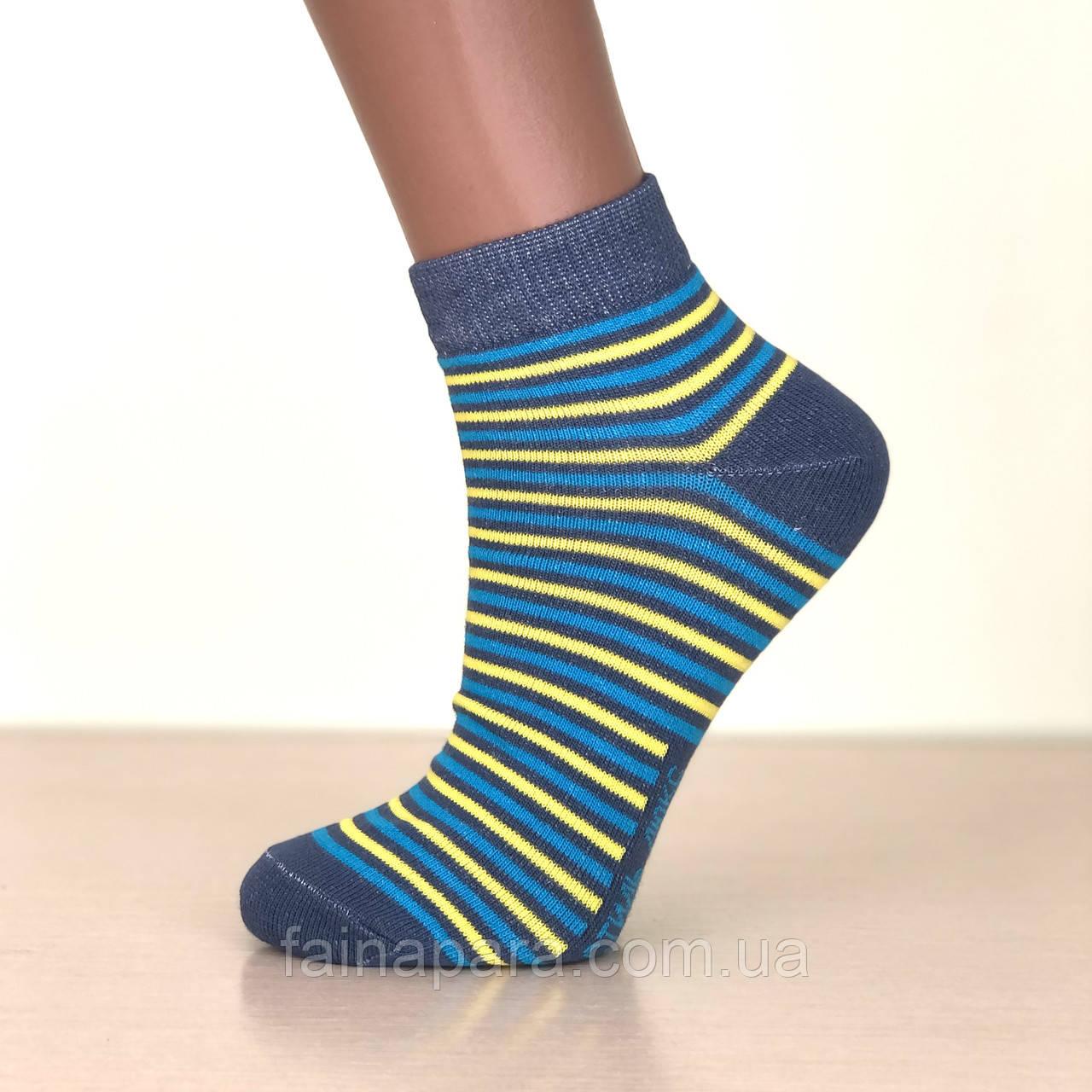 Жіночі укорочені бавовняні шкарпетки в смужку Luxe Style