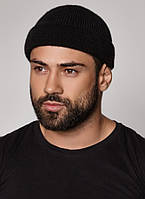 Черная вязаная мужская шапка бини с отворотом