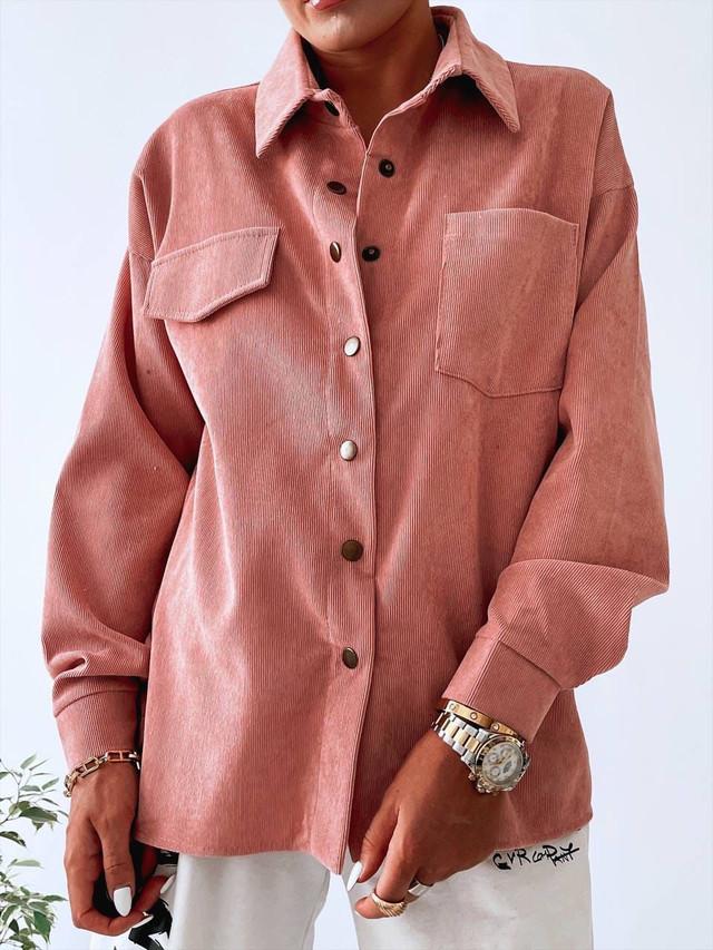 Женская вельветовая рубашка оверсайз