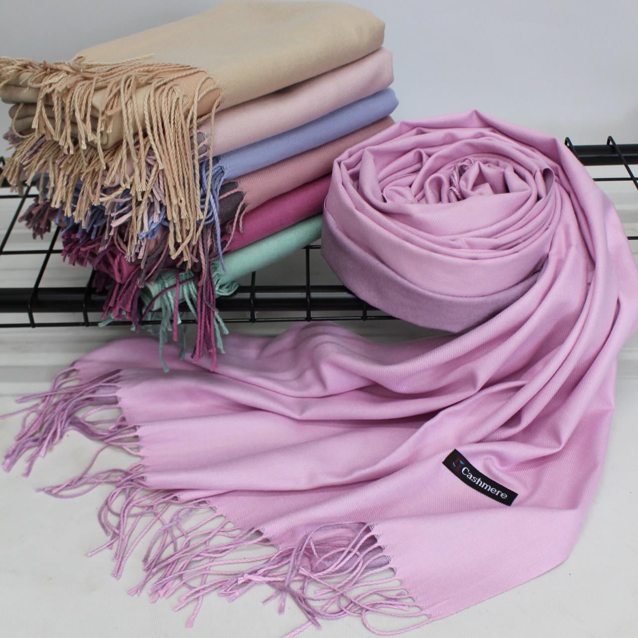 Теплый шарф одтонный двухсторонний кашемировый 132001
