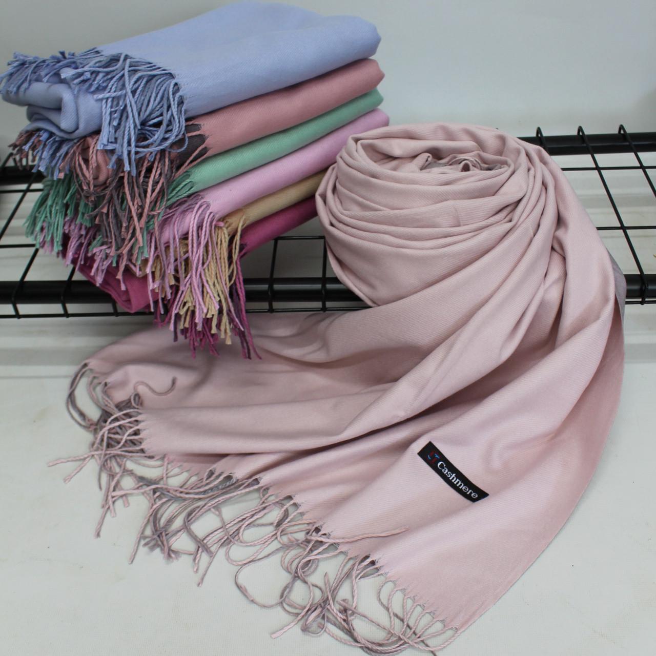 Теплий шарф одтонный двосторонній кашеміровий 132004