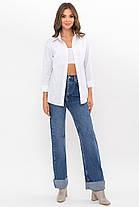 Базовая блузка-рубашка на пуговицах белого цвета в мужском стиле размер ХS S M L XL, фото 2