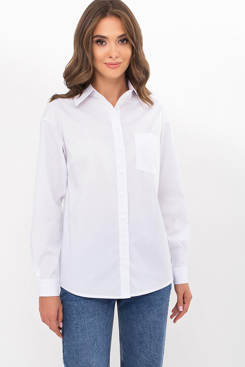 Базовая блузка-рубашка на пуговицах белого цвета в мужском стиле размер ХS S M L XL
