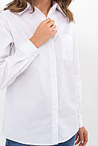 Базовая блузка-рубашка на пуговицах белого цвета в мужском стиле размер ХS S M L XL, фото 3