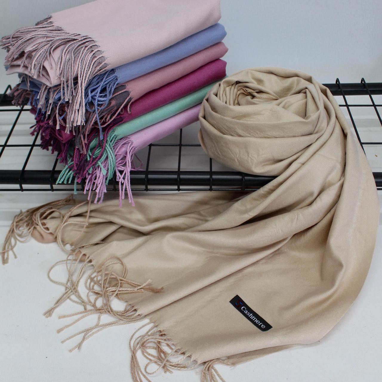 Теплий шарф одтонный двосторонній кашеміровий 132016