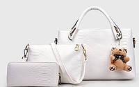 Женская сумка набор 3в1 из экокожи с брелочком молочная