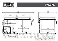 Автохолодильник-морозильник DEX TWW-75B 75л Компресорний з акумулятором, фото 3