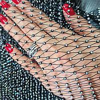 Стразовая сетка, цвет черный + crystal (ss10) отрезок 36*100см