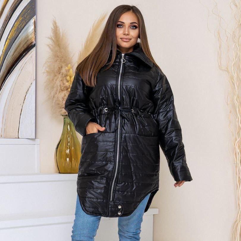Стёганое демисезонное пальто больших размеров на молнии
