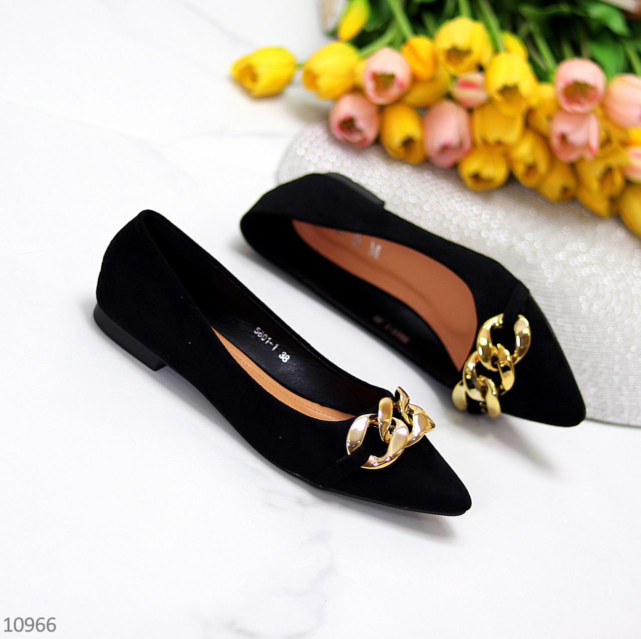 Ошатні жіночі чорні туфлі-балетки човники з декором ланцюг 37-24 см