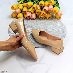 Элегантные лаковые глянцевые бежевые женские туфли на низком фигурном каблуке 36-23,5 37-24 38-24,5