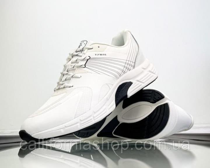 Кросівки чоловічі спортивні білі шкіра текстиль