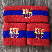 Комплект повязка на голову и напульсники Барселона сине-красный