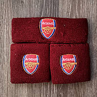 Повязка на голову и напульсники Арсенал бордовый