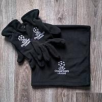 Перчатки + горловик  Лига Чемпионов черные, фото 1