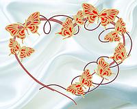 """Схема для вышивки бисером (винтаж) """"Бабочки"""" (белый фон-золото)"""