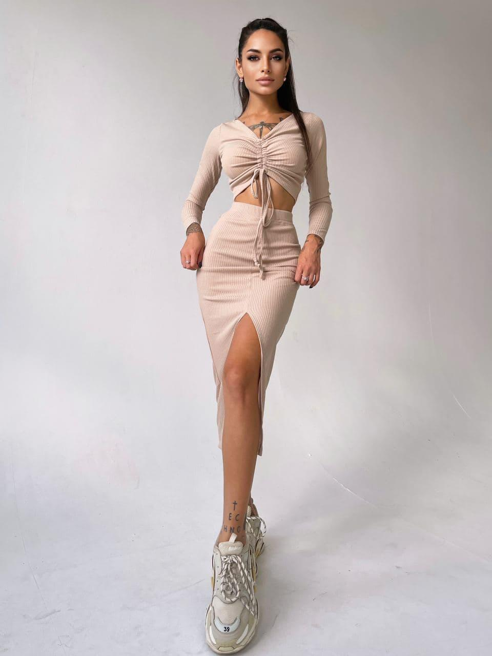 Женский костюм топ+ юбка миди с разрезом Beige
