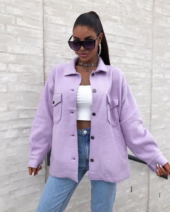 Женская теплая кашемировая рубашка Lavender
