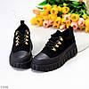 Ультра модні жіночі чорні замшеві кросівки, кеди кріпери на платформі, фото 5