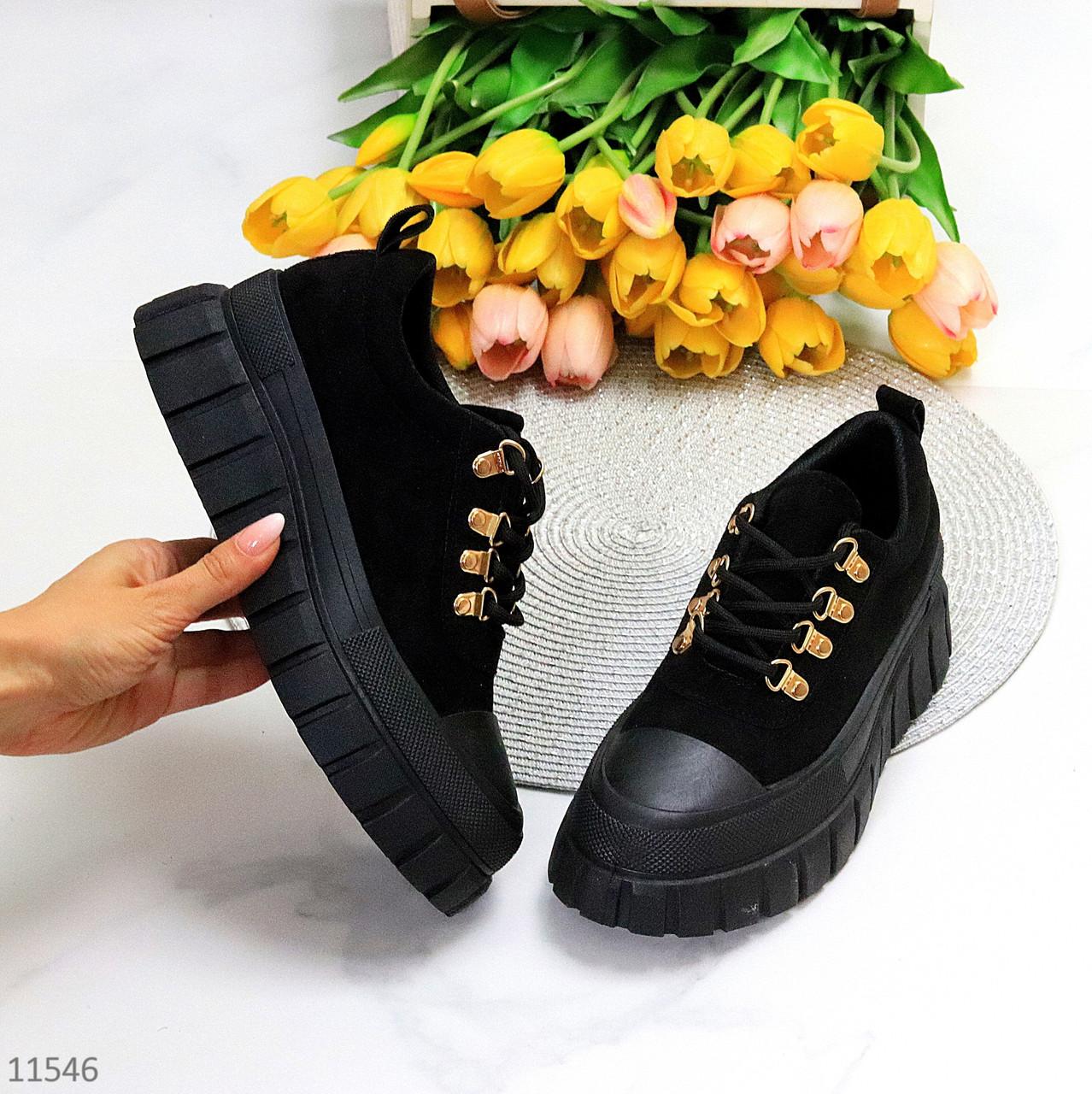 Ультра модні жіночі чорні замшеві кросівки, кеди кріпери на платформі