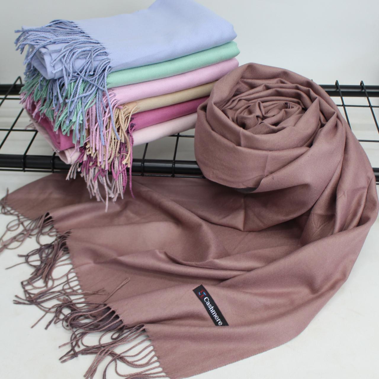 Теплый шарф одтонный двухсторонний кашемировый 132003