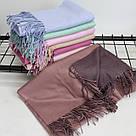 Теплый шарф одтонный двухсторонний кашемировый 132003, фото 3